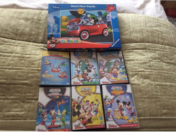 Mickey Mouse x6 dvd and floor puzzle
