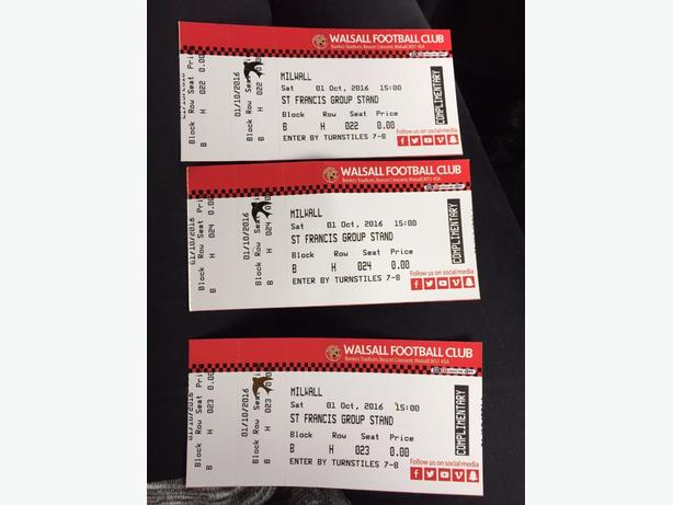 3 walsall vs millwall tickets