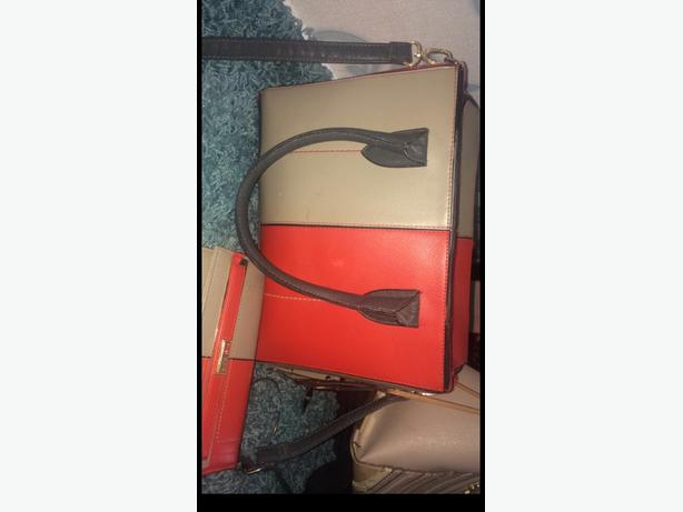 coral and grey river island bag and purse