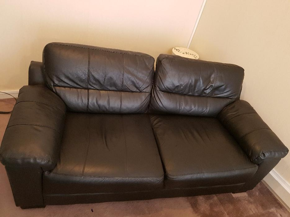 Black Faux Leather Chair: 3 Seater Black Faux Leather Sofa West Bromwich, Sandwell
