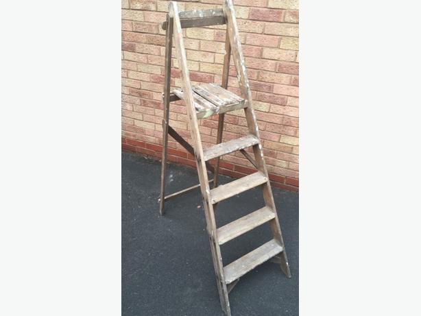2x vintage wooden ladders