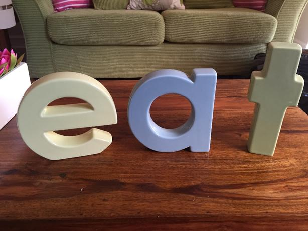 decorative letters EAT/TEA