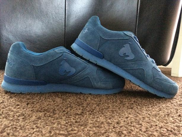 TRAINERS MONEY BLUE SUEDE SIZE 10