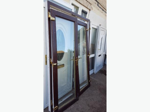 Brown upvc french doors bilston wolverhampton for Brown upvc door