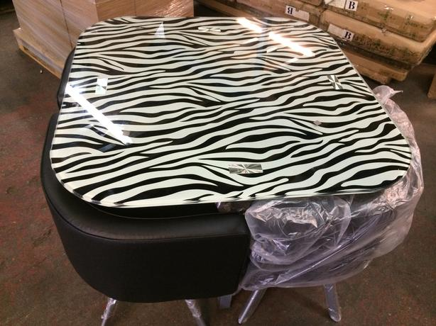 BRAND NEW ZEBRA PRINT DINING TABLE