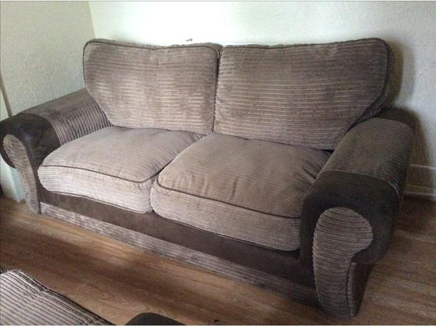 3 SEATER AND 2 SEATER BROWN FABRIC SOFAS