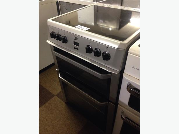 BEKO 60CM FAN ASSISTED DOUBLE OVEN ELECTRIC COOKER SILVER