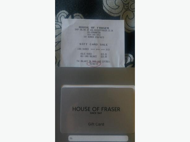 House of Fraser gift card