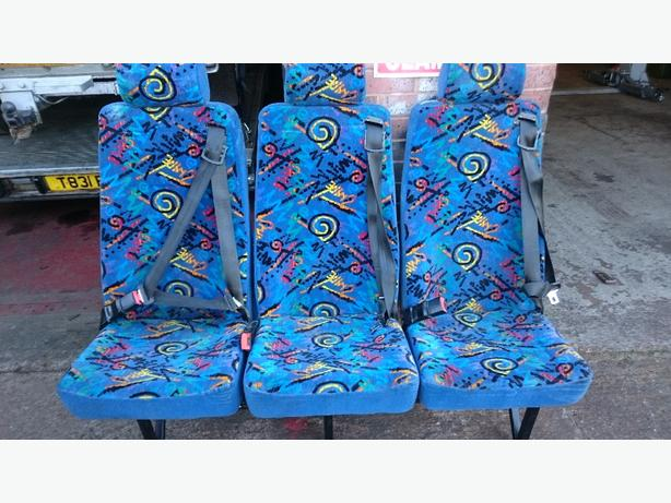 row of 3 minibus seats with built in seatbelts