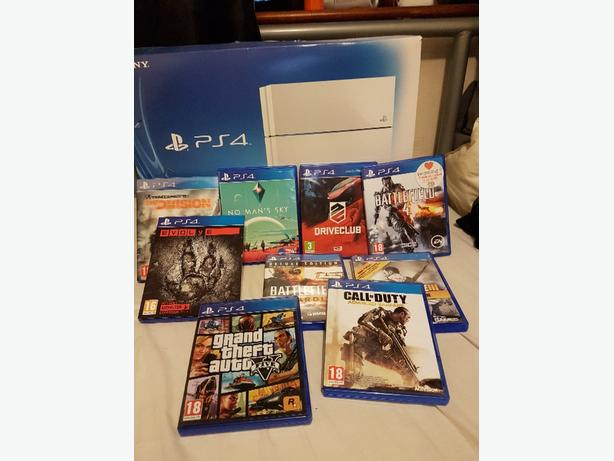 PS4 500GB WHITE WITH 9 GAMES