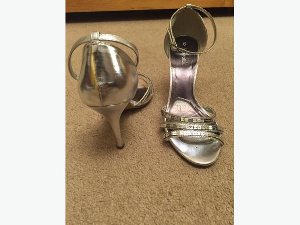 Silver heeled sandals