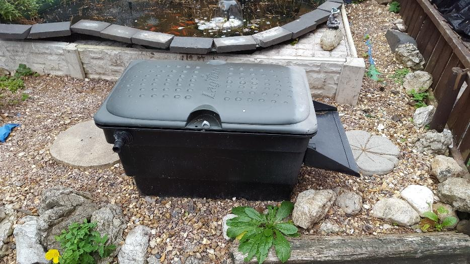Pond filter box with water chute wednesbury dudley mobile for Used pond filters