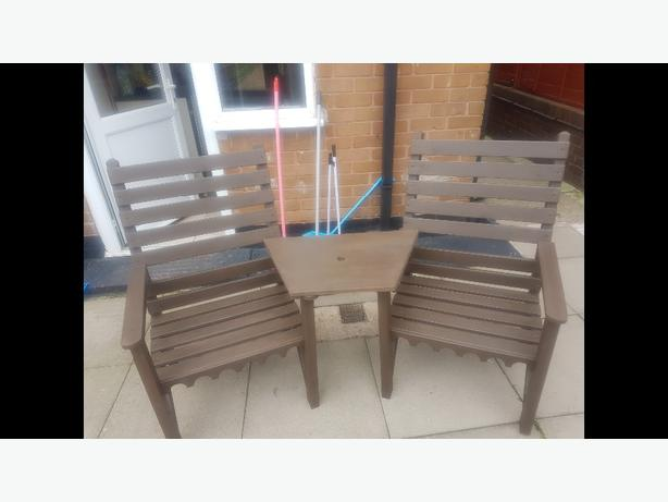 oak stained garden chairs £50