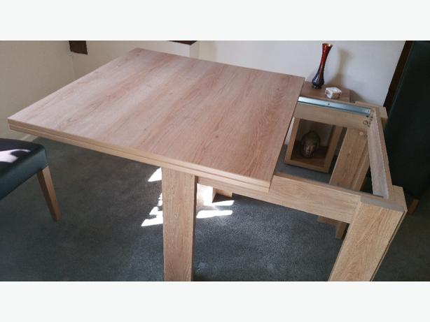 Extending Solid Light Wood Table & Four Chairs