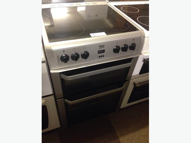 BEKO SILVER 60CM DOUBLE OVEN ELECTRIC COOKER