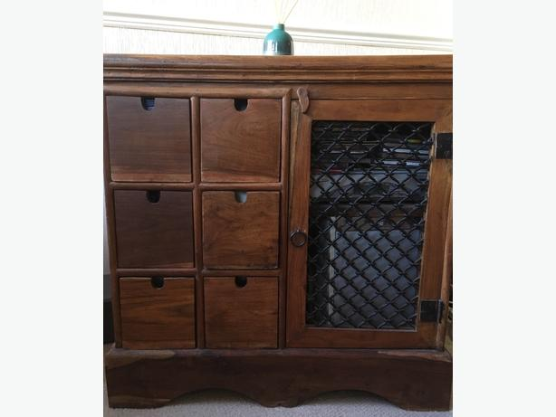 Solid Sheesham Rosewood Stereo CD cabinet.