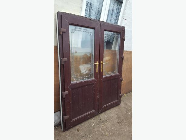 small brown French doors