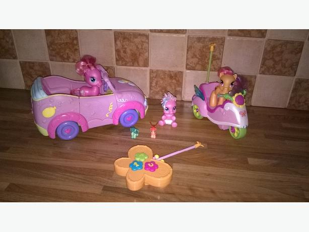 my little ponies with car and remote control scooter used but good condition