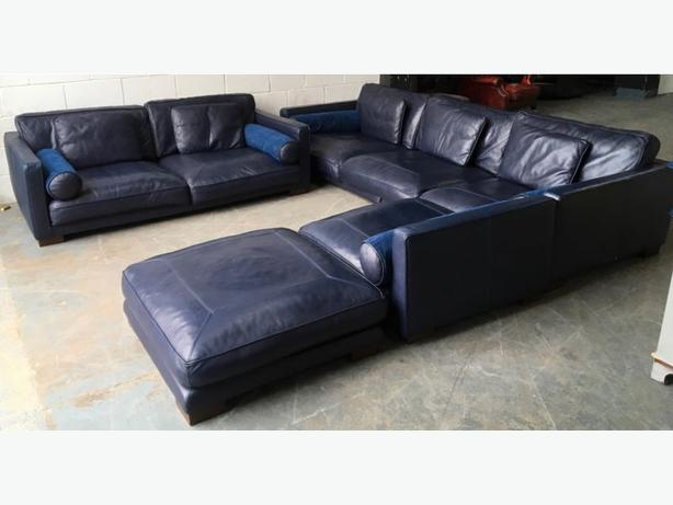 £5000 DFS California Blue Leather Corner Sofa Set WE DELIVER UK WIDE