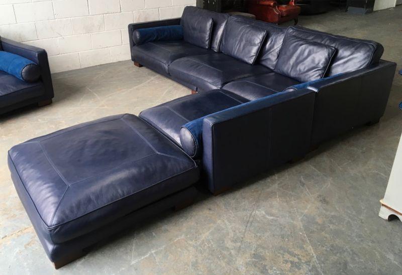 163 5000 Dfs California Blue Leather Corner Sofa Set We