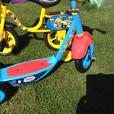 Toddlers Bob the builder bike and Thomas scooter