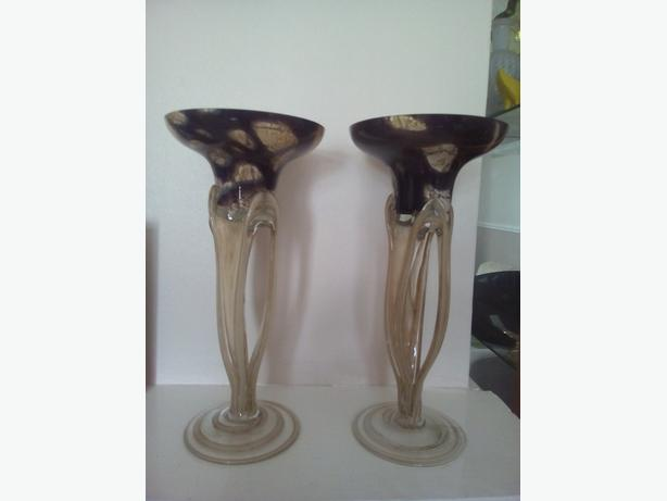 Glass candlesticks