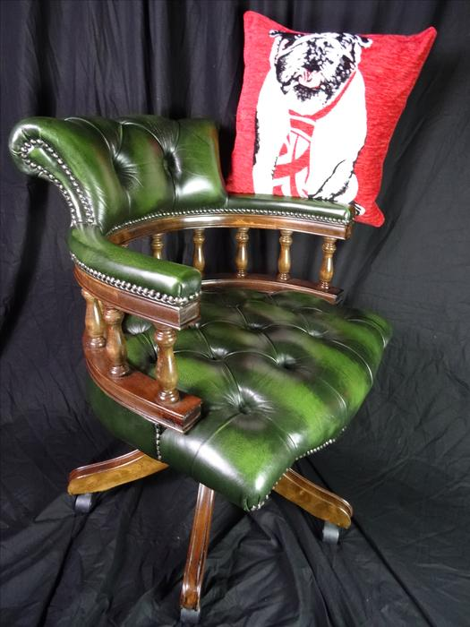 style handmade green leather relaxing swivel captains chair