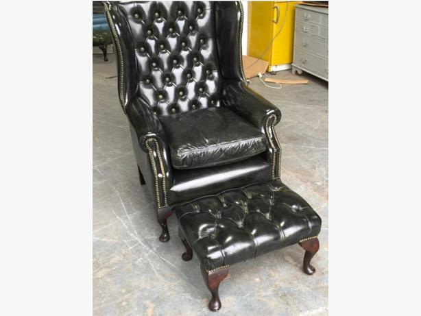 Very Dark Green Leather Chesterfield Wingback Chair & Stool WE DELIVER UK WIDE