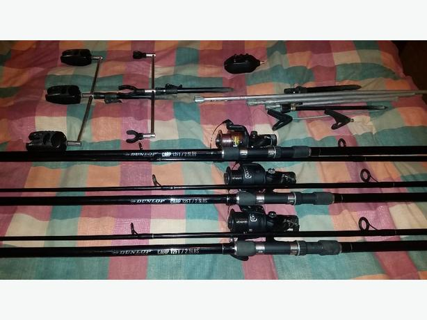 fishing. 3 rod set up