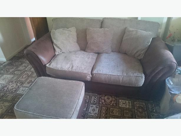 Brown beige sofa and footstool