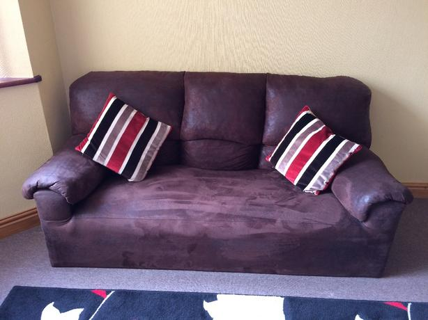 HARDLY USED 3 & 2 seater suede sofa