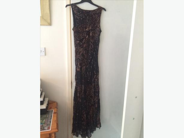 ladies long dark brown dress size medium
