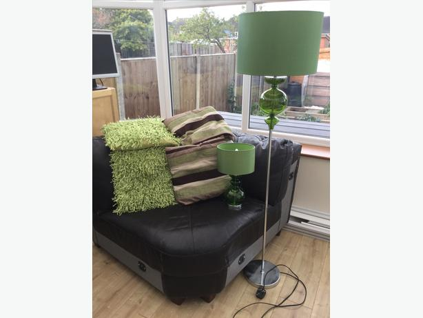 Next green lamps & cushions