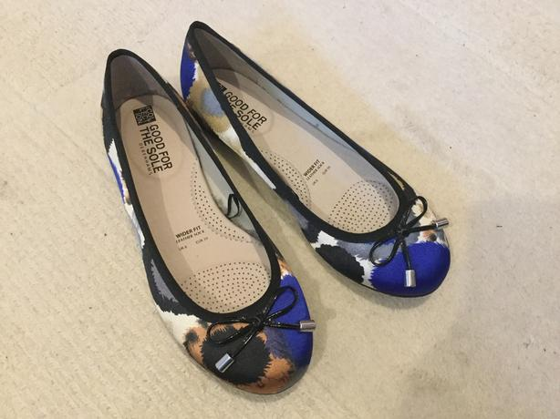 Blue & Black Ballet Pumps Size 6 Wide Fit Brand New