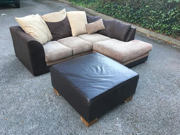 Fabric brushed corner sofa in very good condition + footstool // free delivery