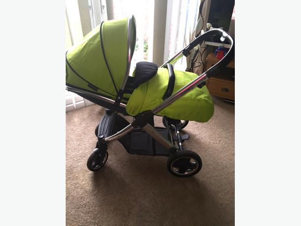 oyster 2 pram/pushchair from newborn in lime green with mirror chrome frame