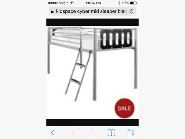 Kidspace mid sleeper bed black and silver