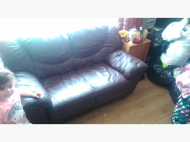 2 Brown sofas 2 seat real leather sofas