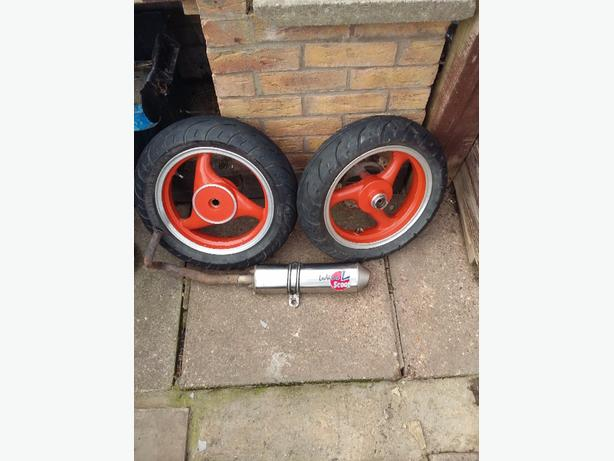 moped wheels an exhuast