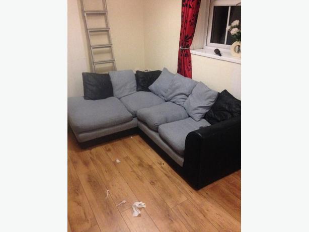 black and gray corner sofa