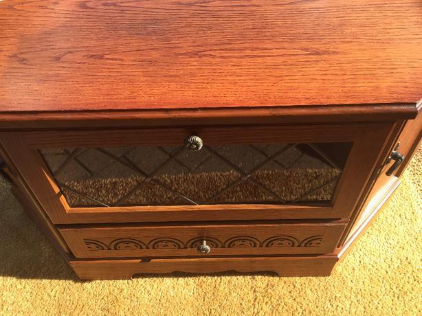 solid oak tv corner unit