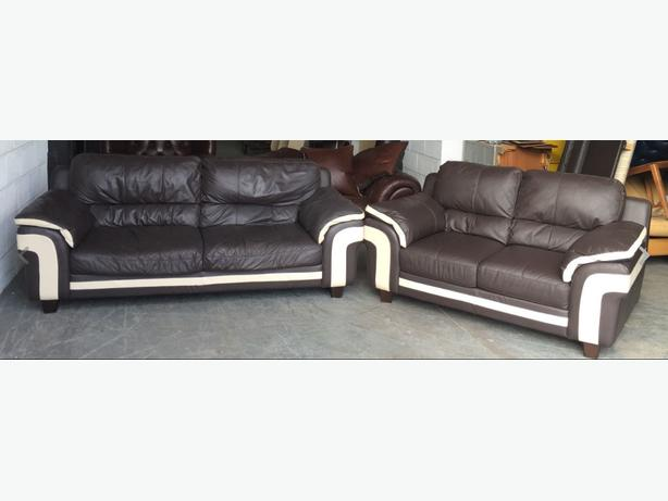 STUNNING DFS Brown&Cream 3&2 Seater Leather Sofa Set.WE DELIVER