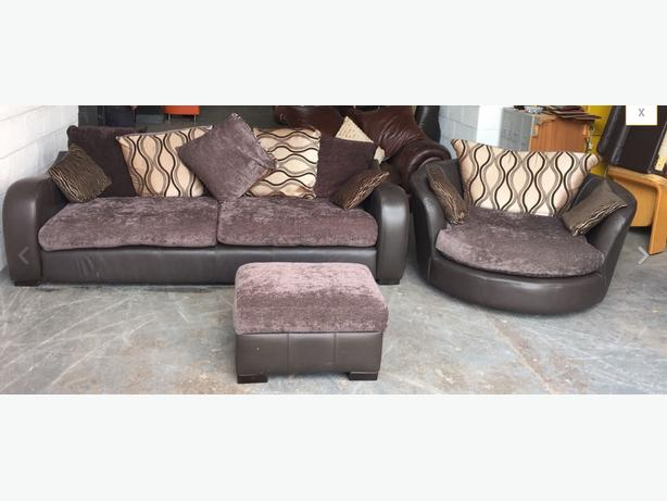 Huge Brown Leather 3 Seater Sofa/Huge Swivel Chair/Storage Footstool.WE DELIVER