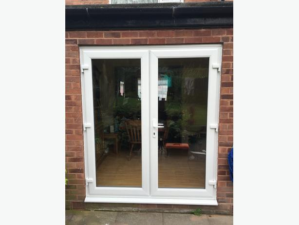 White upvc french doors 1200mm x 2100mm darlaston dudley for Upvc french doors draught