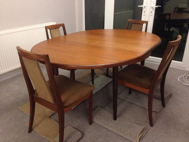 G plan teak extending dining table and 4 chairs immaculate condition