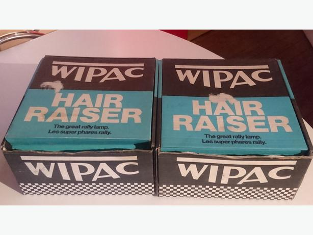 VINTAGE PAIR UNUSED UNFITTED WIPAC 7 1/2 INCH CLASSIC CAR RALLY SPOT LAMPS BOXED