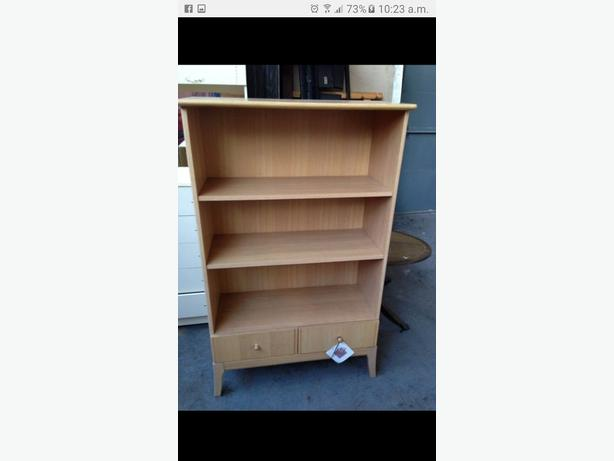 "NEW BOOK CASE SHELVES WITH DRAW. £500 NEW. BEECH? SOLID HEAVY. 3'WX58""H"