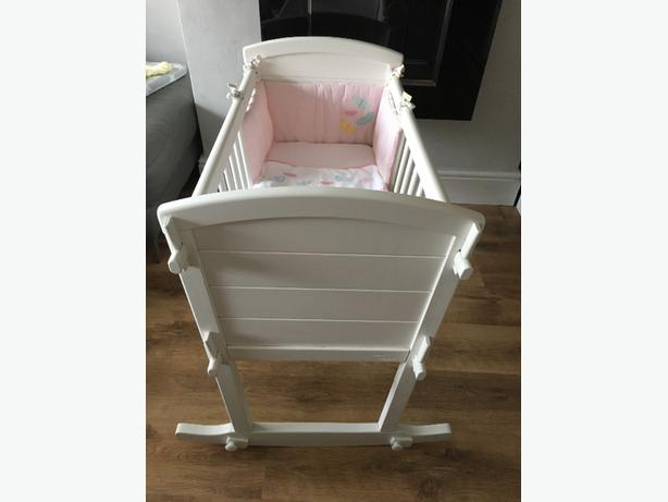 mothercare white rocking crib and mothercare crib bedding set