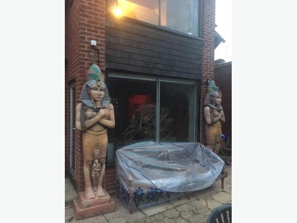LARGE PAIR OF EGYPTIAN STYLE STATUES
