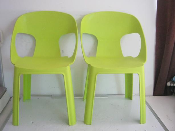 2 x Green Childrens Plastic Chairs
